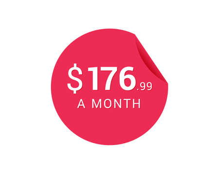 Monthly $176.99 US Dollars icon, $176.99 a Month tag