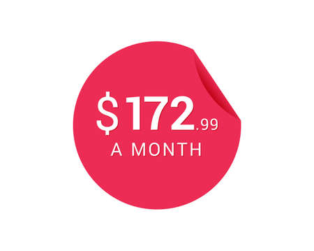 Monthly $172.99 US Dollars icon, $172.99 a Month tag