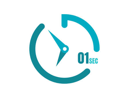 Timer 1 sec Simple icon design, 1 second timer clocks. 1 sec stopwatch icons
