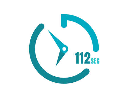 Timer 112 sec Simple icon design, 112 second timer clocks. 112 sec stopwatch icons