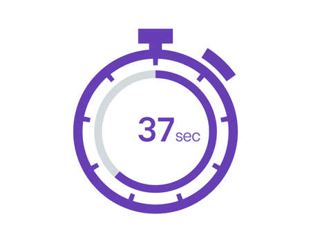 Timer 37 sec icon, 37 seconds digital timer. Clock and watch, timer, countdown