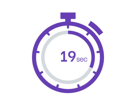 Timer 19 sec icon, 19 seconds digital timer. Clock and watch, timer, countdown
