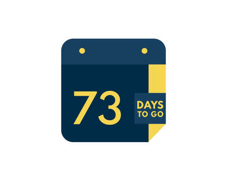 73 days to go calendar icon on white background, 73 days countdown, Countdown left days banner image