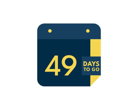 49 days to go calendar icon on white background, 49 days countdown, Countdown left days banner image