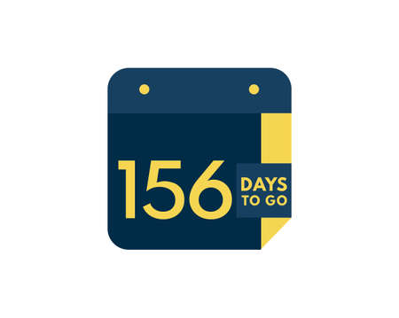 156 days to go calendar icon on white background, 156 days countdown, Countdown left days banner image