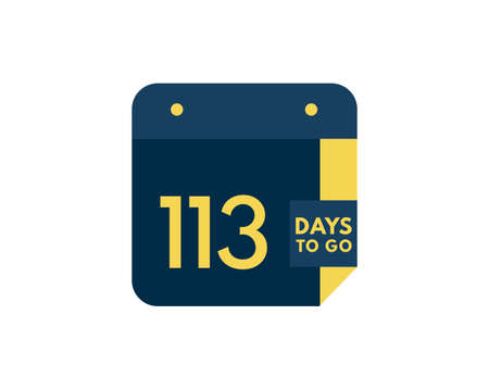 113 days to go calendar icon on white background, 113 days countdown, Countdown left days banner image