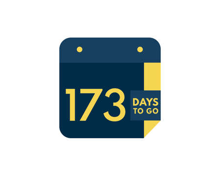173 days to go calendar icon on white background,173 days countdown, Countdown left days banner image