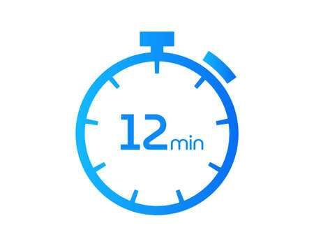 12 Minutes timers Clocks, Timer 12 mins icon, countdown icon. Time measure. Chronometer vector icon isolated on white background