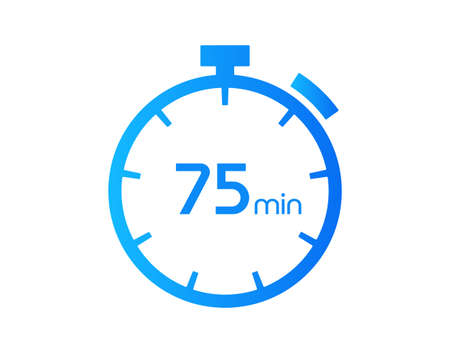 75 Minutes timers Clocks, Timer 75 mins icon, countdown icon. Time measure. Chronometer vector icon isolated on white background