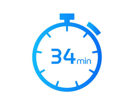 34 Minutes timers Clocks, Timer 34 mins icon, countdown icon. Time measure. Chronometer vector icon isolated on white background