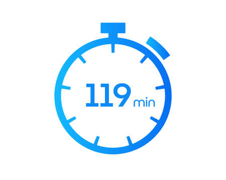 119 Minutes timers Clocks, Timer 119 mins icon, countdown icon. Time measure. Chronometer vector icon isolated on white background