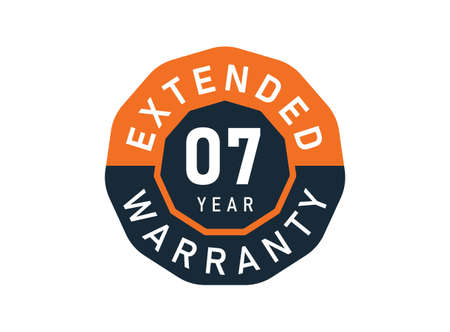 7 year warranty badges isolated on white background. 7 years Extended warranty