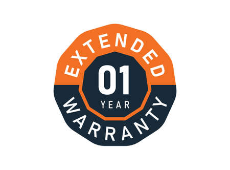 1 year warranty badges isolated on white background. 1 years Extended warranty