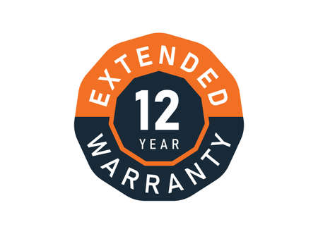 12 year warranty badges isolated on white background. 12 years Extended warranty