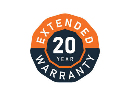 20 year warranty badges isolated on white background. 20 years Extended warranty