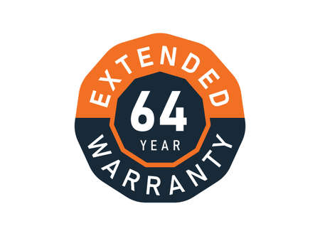 64 year warranty badges isolated on white background. 64 years Extended warranty
