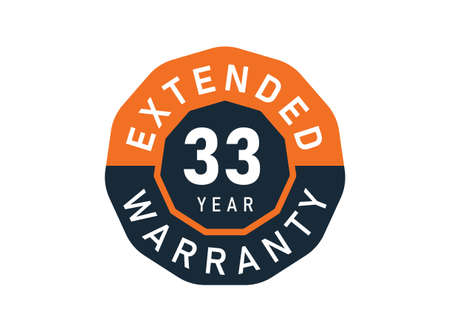 33 year warranty badges isolated on white background. 33 years Extended warranty