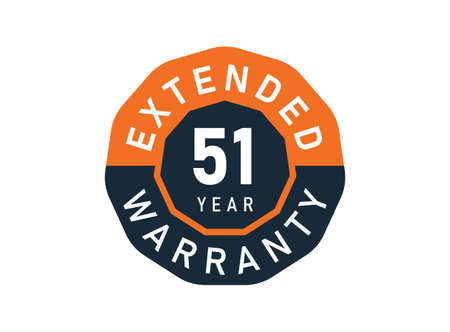 51 year warranty badges isolated on white background. 51 years Extended warranty