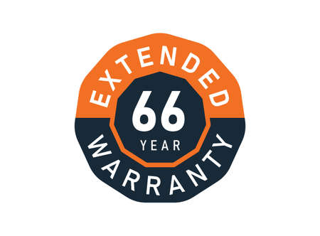 66 year warranty badges isolated on white background. 66 years Extended warranty