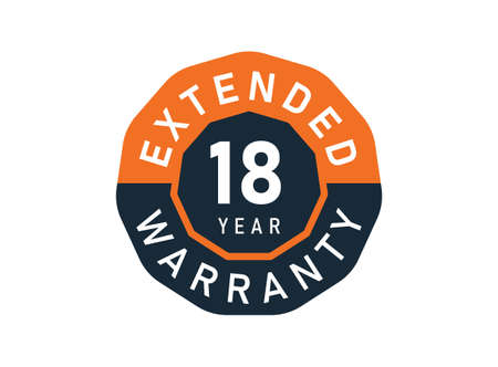 18 year warranty badges isolated on white background. 18 years Extended warranty Vector Illustration