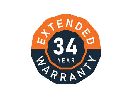 34 year warranty badges isolated on white background. 34 years Extended warranty Vector Illustration