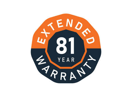 81 year warranty badges isolated on white background. 81 years Extended warranty