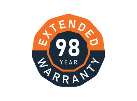 98 year warranty badges isolated on white background. 98 years Extended warranty