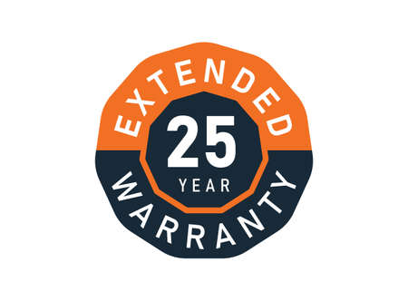 25 year warranty badges isolated on white background. 25 years Extended warranty