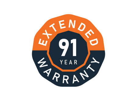91 year warranty badges isolated on white background. 91 years Extended warranty