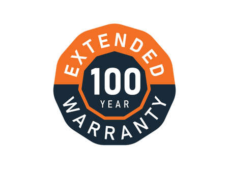 100 year warranty badges isolated on white background. 100 years Extended warranty
