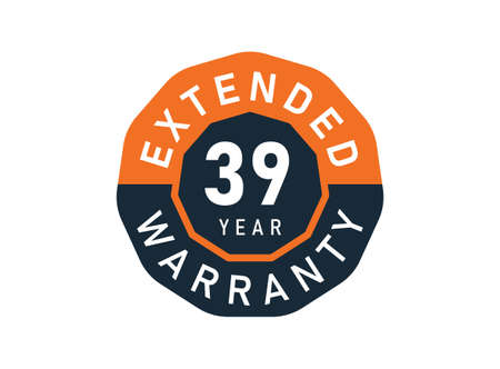 39 year warranty badges isolated on white background. 39 years Extended warranty