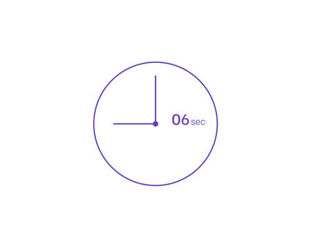 The 6 seconds, Timer 6 sec icon, stopwatch vector icon. Clock and watch, timer, countdown symbol
