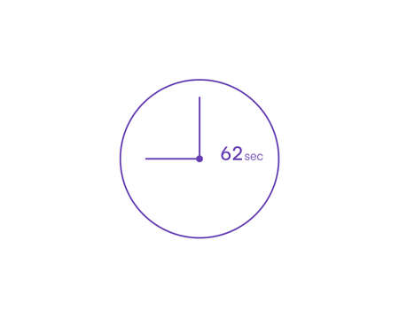 The 62 seconds, Timer 62 sec icon, stopwatch vector icon. Clock and watch, timer, countdown symbol