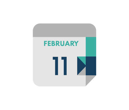 February 11 flat daily calendar date, 11 February Single Day Calendar Icon