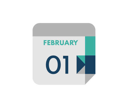 February 1 flat daily calendar date, 1 February Single Day Calendar Icon