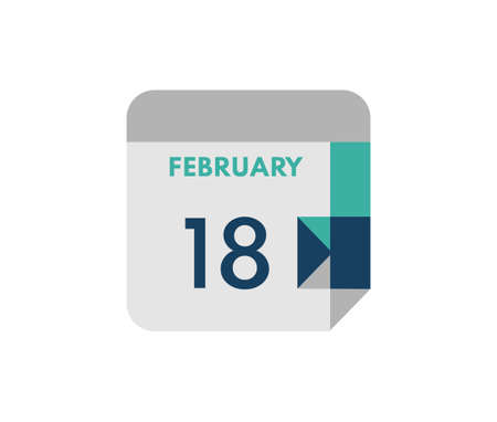 February 18 flat daily calendar date, 18 February Single Day Calendar Icon