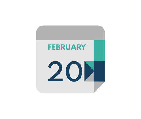 February 20 flat daily calendar date, 20 February Single Day Calendar Icon