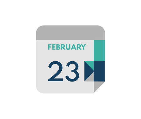 February 23 flat daily calendar date, 23 February Single Day Calendar Icon