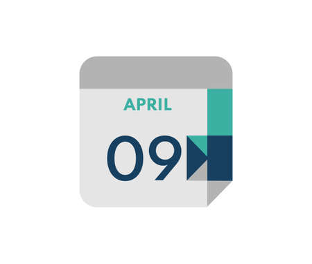 April 9 flat daily calendar date, 9 April Single Day Calendar Icon