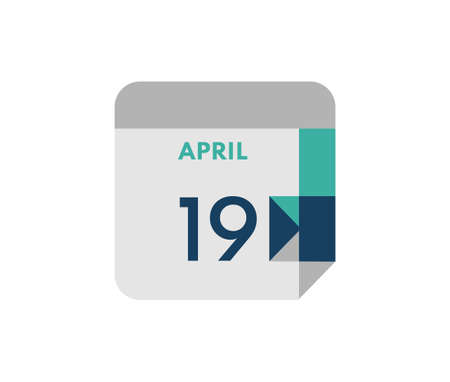 April 19 flat daily calendar date, 19 April Single Day Calendar Icon