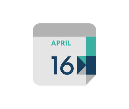April 16 flat daily calendar date, 16 April Single Day Calendar Icon