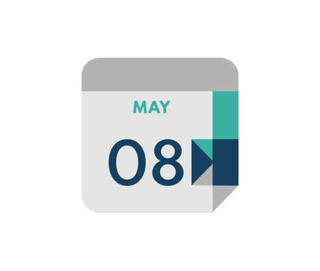 May 8 flat daily calendar date, 8 May Single Day Calendar Icon