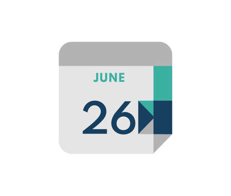 June 26 flat daily calendar date, 26 June Single Day Calendar Icon