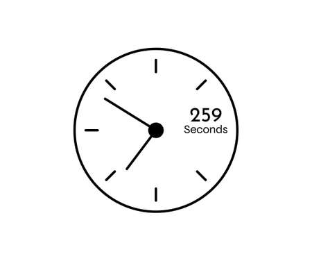 259 seconds Countdown modern Timer icon. Stopwatch and time measurement image isolated on white background
