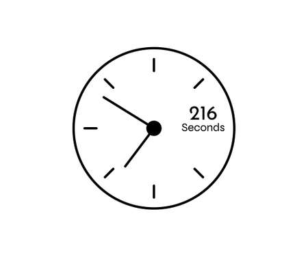 216 seconds Countdown modern Timer icon. Stopwatch and time measurement image isolated on white background