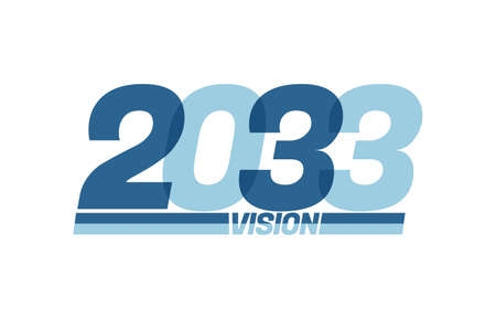 Happy new year 2033. Typography 2033 vision, 2033 New Year banner