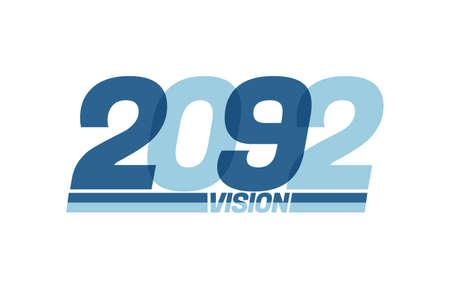 Happy new year 2092. Typography 2092 vision, 2092 New Year banner Illusztráció