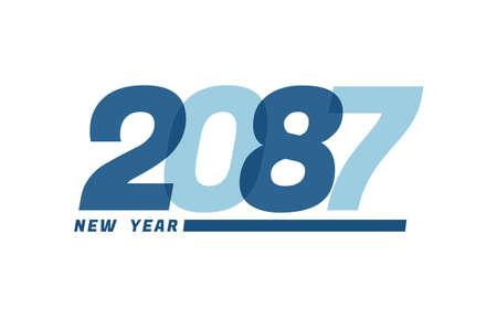 Happy New Year 2087. Happy New Year 2087 text design for Brochure design, card, banner Illusztráció