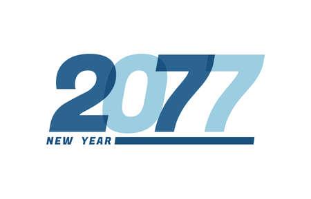 Happy New Year 2077. Happy New Year 2077 text design for Brochure design, card, banner Illusztráció