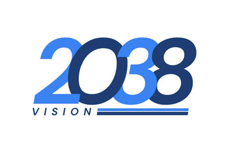 Happy New Year 2038. 2038 Vision Modern Design for Calendar, Greeting Cards, Invitations, Flyers or Prints